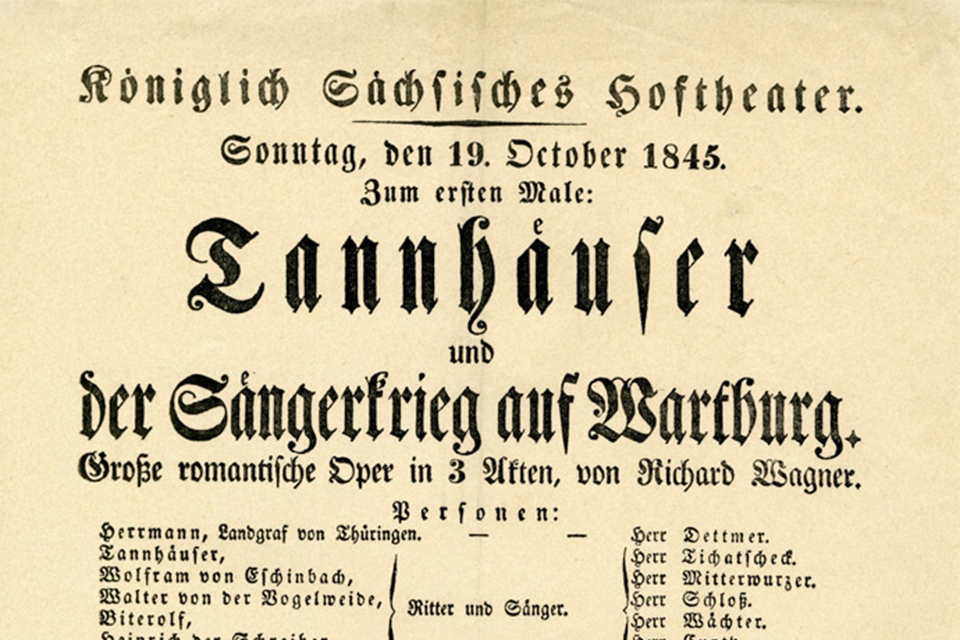 Tannhäuser: sheet of music from the premiere